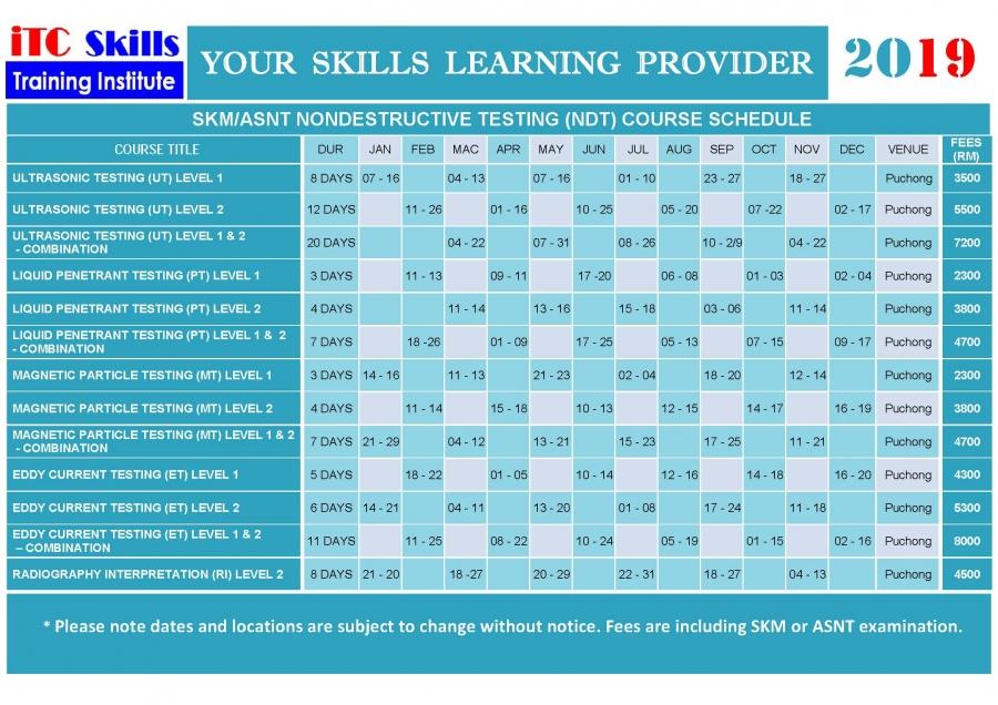 NDT Schedule For Public Scheme - ITC Skills